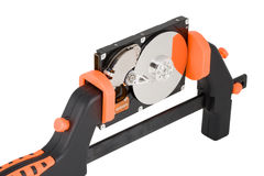 Free The Computer Hard Disk Clamped In A Manual Clamp Stock Photos - 5864273