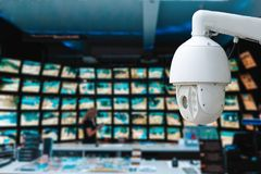 Free The Concept Of Video Surveillance. Surveillance Camera, On Blurred Background, With A Lot Of Monitors In The Office Royalty Free Stock Photography - 161258217