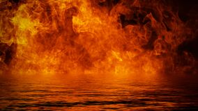 Free The Confrontation Of Water Vs Fire. Mystical Flame With Reflection On The Shore. Stock Illustration Background Royalty Free Stock Images - 183605169