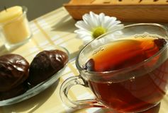 The Cup Of The Tea, The Sweet With The Chocolate A Stock Photos
