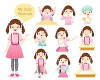 Free The Daily Routines Of Girl Stock Image - 112721381