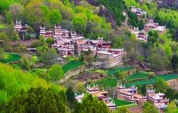The DanBa Tibetan Village In Moring Spring Stock Photo
