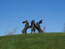The Dancing Hares At Ballantrae Stock Photography