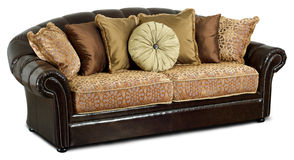 The Dark Leather Sofa With Pillows Royalty Free Stock Images