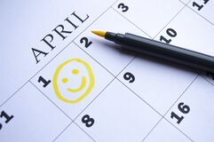 Free The Date Of April 1 Is Circled On The Calendar. April Fool`s Day Stock Image - 213356011