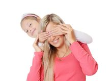 The Daughter Closes To Mum Of An Eye Hands Royalty Free Stock Image
