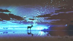 Free The Deer Walking On Water Royalty Free Stock Images - 118097559