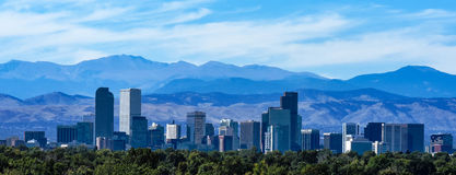 The Denver Skyline Against The Rockies Royalty Free Stock Photos