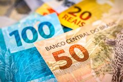 Free The Detail Of The Notes Of Two Hundred, One Hundred, Fifty And Twenty Reais. The Real Is The Currency Of Brazil. The Central Bank Royalty Free Stock Photography - 219722417