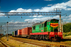 The Diesel Train With Wagon Royalty Free Stock Photography