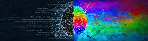 The Difference In The Work Of The Right And Left Hemispheres Of The Brain. Analytical Thinking Versus Abstract Royalty Free Stock Photo