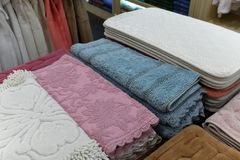 The Different Bath Mats In The Store Stock Image