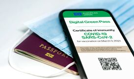 Free The Digital Green Pass Of The European Union With The QR Code On The Screen Of A Mobile Phone Over A Surgical Mask And A Passport Stock Images - 217142814