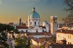 The Dome Of Duomo Nuovo In Brescia After Sunrise Royalty Free Stock Photography