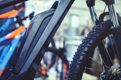 The Electric Bike Battery Is Mounted On The Frame, Green Technologies Are Taking Care Of The Environment Royalty Free Stock Photos
