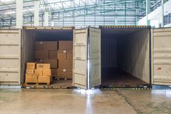 Free The Empty Container Inside Warehouse On Shipment Area Royalty Free Stock Photos - 144864668