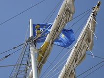 Free The European Flag In The Rigging Of Brig Mercedes Stock Images - 16597794