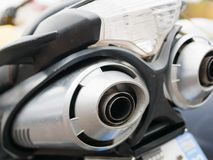 Free The Exhaust Pipe Of A Motorcycle. Motorcycle Noise. Rear View Of Classical Motorcycle Pair Of Exhaust Chrome Pipes Selective Focus Stock Photos - 162468213