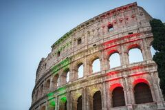 Free The Famous Colosseum In Rome Illuminated In Italian Flag Tricolore At Twilight Royalty Free Stock Image - 204135906
