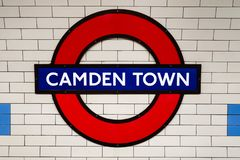 Free The Famous London Underground Sign At Camden Town Station Royalty Free Stock Photography - 157300617