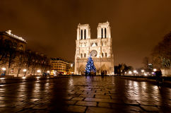 The Famous Notre Dame At Night In Paris Royalty Free Stock Photos