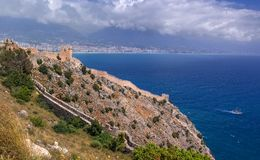 Free The Fortress Of Alanya In Turkey. Sea View From The Fortress Wall And Watchtower. Stock Photo - 115326990