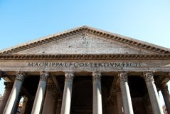 Free The Front Of Pantheon, Roman Architecture With Stones Columns. Ancient And Historical Monument In Europe Stock Images - 162434424