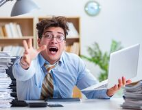 Free The Funny Accountant Bookkeeper Working In The Office Stock Images - 195127234