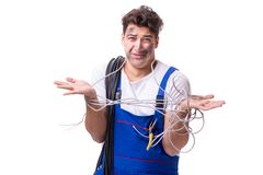 Free The Funny Man Doing Electrical Repair Royalty Free Stock Photo - 96354305