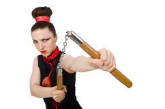 Free The Funny Woman With Nunchucks Isolated On White Royalty Free Stock Images - 73012039