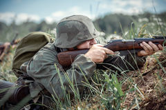 Free The German Soldier In Battle. Royalty Free Stock Photos - 97246228
