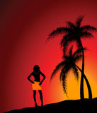 The Girl Against A Beach And A Decline