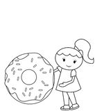 The Girl And The Big Doughnut Coloring Page Royalty Free Stock Image