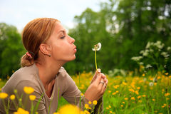 The Girl Blows On A Dandelion Stock Photo