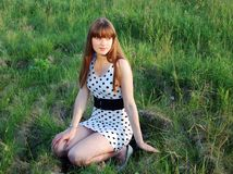 The Girl In A Field Royalty Free Stock Photography