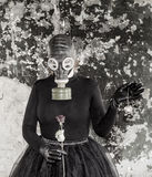 The Girl In A Gas Mask. The Threat Of Ecology. Royalty Free Stock Images