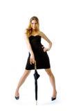 The Girl In An Black Dress Stock Photos