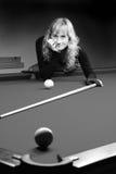 The Girl Plays Billiards Royalty Free Stock Photos