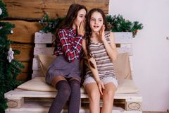 The Girl Shares The Secrets Of Her Friend Stock Images
