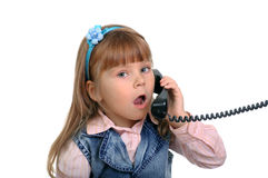 The Girl Speaks By Phone Stock Images