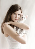The Girl With A Kitten Stock Photography