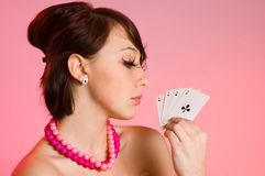 The Girl With Cards Stock Photos
