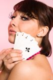 The Girl With Cards Stock Image
