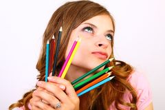 The Girl With Color Pencils Royalty Free Stock Photos