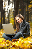 The Girl With The Laptop Stock Photos