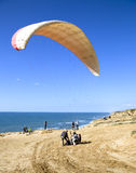 The Glider Pilot Prepares For Flight On A Paraplan Royalty Free Stock Image