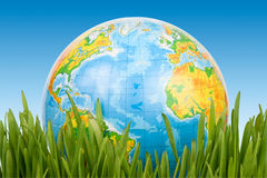 The Globe In A Green Grass. Royalty Free Stock Photo