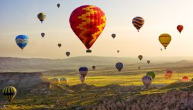 Free The Great Tourist Attraction Of Cappadocia - Balloon Flight. Cap Royalty Free Stock Photography - 117294077