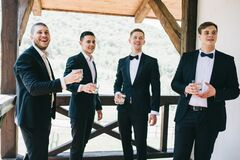 Free The Groom And His Friends Celebrate The Wedding. Men In Suits. Murzhsky Emotions And Friendship. Stock Photos - 175790983