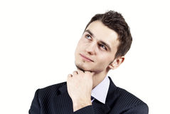 The Guy Thinks On A White Background Royalty Free Stock Photos